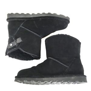 Bearpaw Black Suede Wool And Sheepskin Ankle Boots